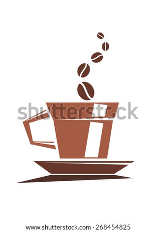 Strong cup of full roast coffee with coffee beans issuing forth as steam on a white background - stock photo