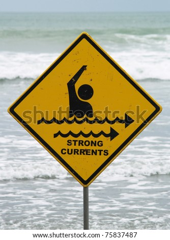 Strong currents sign - stock photo