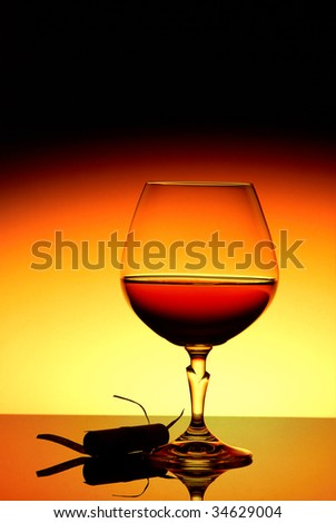 strong drink on a bright background