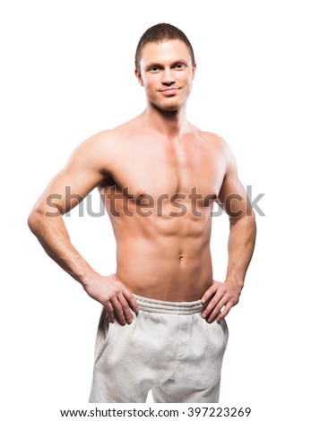 Strong, fit and sporty bodybuilder man isolated on white - stock photo