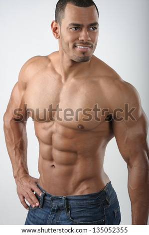 Strong Fit Energetic Male bodybuilder upper body on white background