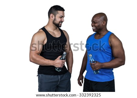 Strong friends taking a drink on white background