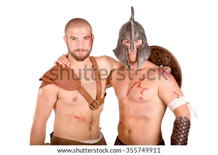strong gladiators fighting isolated in white background - stock photo