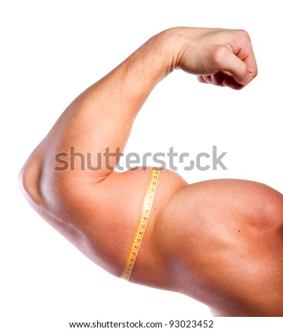 Strong hand with big biceps and centimeter of athlete - stock photo