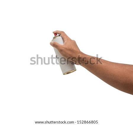strong hand with white spray can - stock photo