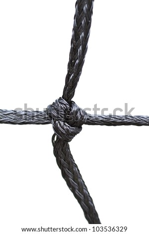 strong knot tied by a black rope isolated on a white background