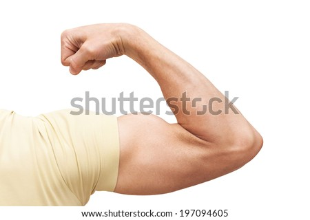Strong male arm shows biceps. Closeup photo isolated on white - stock photo