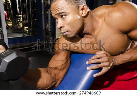 Strong man doing bicep curl on bench - stock photo