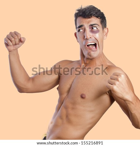 strong man fighting with an black eye