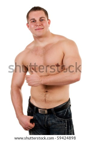strong man on white background - stock photo