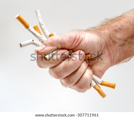 Strong man's fist with cigarettes as a concept idea of smoking issues - stock photo