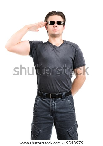 Strong man salute. Isolated on white.