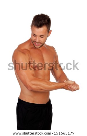 Strong man showing his muscles isolated on a white background - stock photo