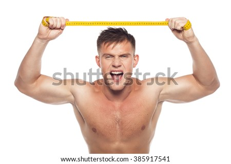 strong man tearing centimeter tape