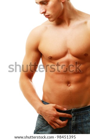 Strong man with a helathy body isolated over white bac - stock photo