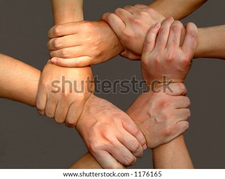 strong mans' arms making unbrakeable strong team work - stock photo