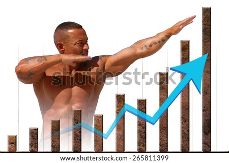Strong market and economic strength represented by stone graph and muscular man - stock photo