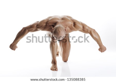 Strong, masculine, muscular man/Muscular man with dumbbells on white background - stock photo