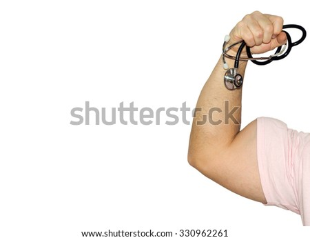 Strong Medicine - A man flexing his bicep while holding a stethoscope. Healthy living, medical vaccines, breast cancer awareness and many other health and medical concepts. - stock photo