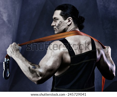 Strong men worker  - stock photo