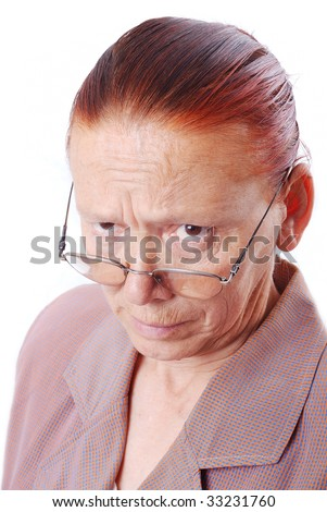 Strong middle aged teacher with glasses in
