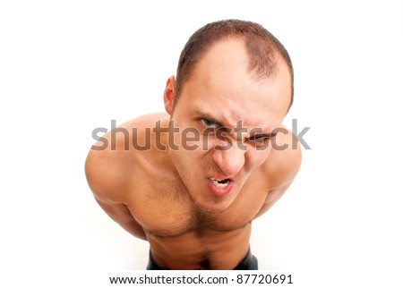 strong muscular angry man with hairy chest isolated on white - stock photo
