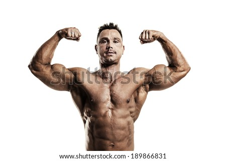 Strong muscular man showing biceps on white background - stock photo