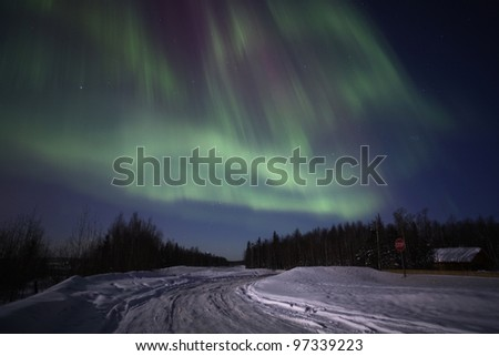 Strong northern lights display over Southcentral Alaska in March 2012