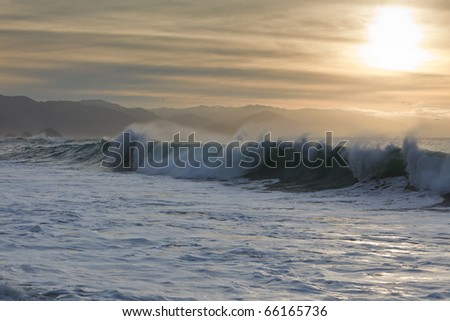 Strong Pacific waves breaking onto Puerto Vallarta's beaches - stock photo