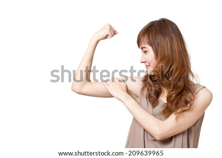 strong, positive, smiling, active, energetic woman on white isolated background - stock photo