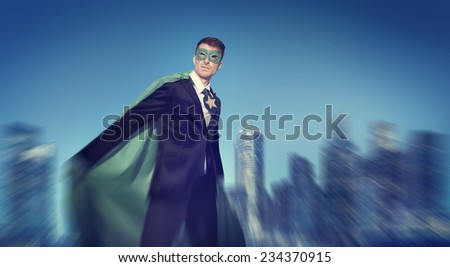 Strong Powerful Business Superhero Cityscape Concepts  - stock photo