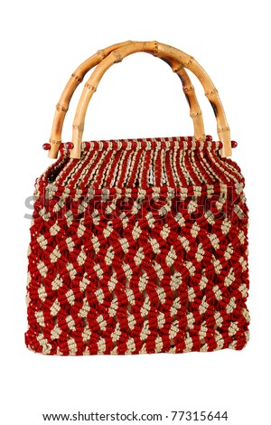 strong red woven bag - stock photo