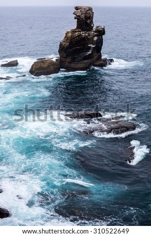 strong sea waves and bad weather in Peniche, Portugal - stock photo