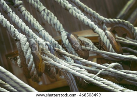 strong ship ropes and brackets on a seagoing vessel