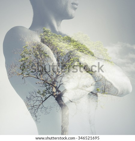 Strong sporty young man torso combined with green tree as lungs, double exposure photo