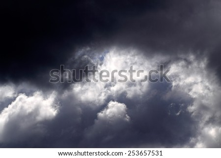 Strong stormy clouds over Portuguese coast - stock photo