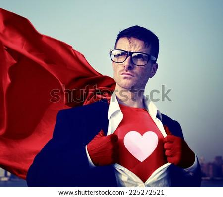 Strong Superhero Businessman Heart Concepts - stock photo
