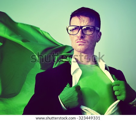 Strong Superhero Businessman Transforming Concept - stock photo