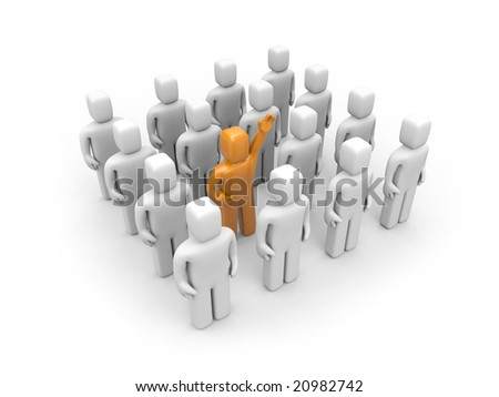 Strong team with different person. Leadership or recruitment - stock photo