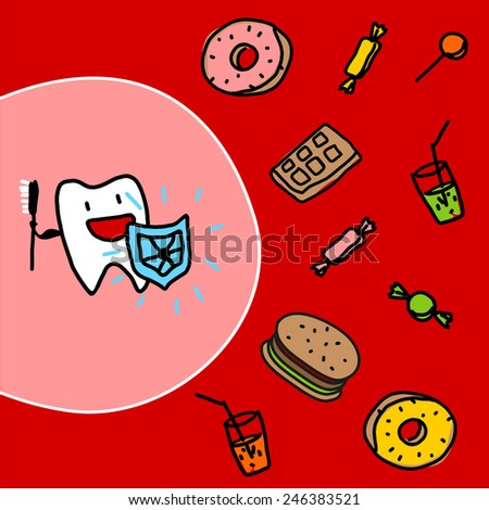 Strong tooth with a shield (raster version) - stock photo