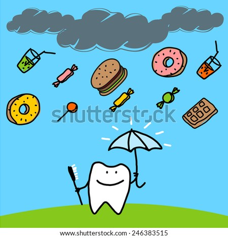 Strong tooth with an umbrella (raster version) - stock photo