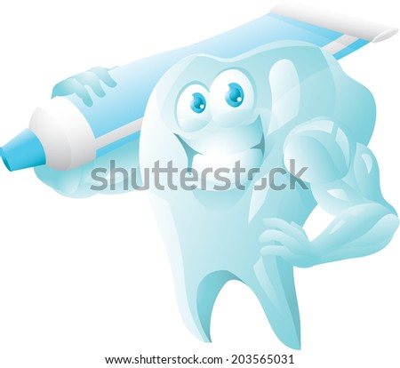 Strong tooth with toothpaste - stock photo