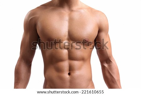 strong torso of a young man on white background  - stock photo
