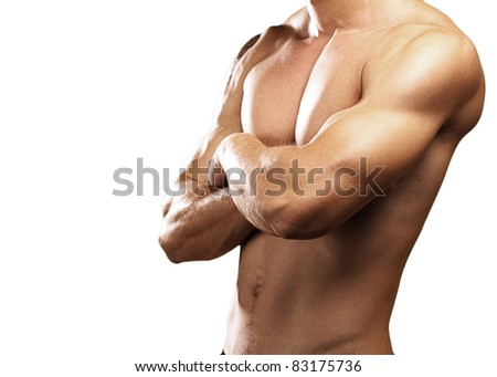 strong torso of a young man on white background
