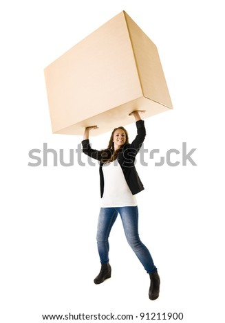 Strong Woman isolated on white background - stock photo
