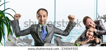 Strong woman thinking about fighting - stock photo