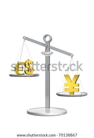 Strong Yen rendering - stock photo