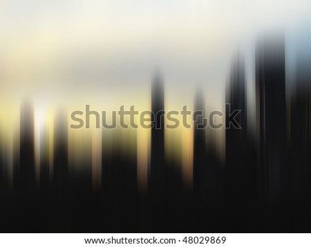 Strongly motion blurred skyline at sunset, Manhattan, New York - stock photo