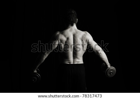 Strongman dumbell fitness, low key - stock photo