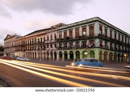 strret of havana, cuba, near capitolio - stock photo